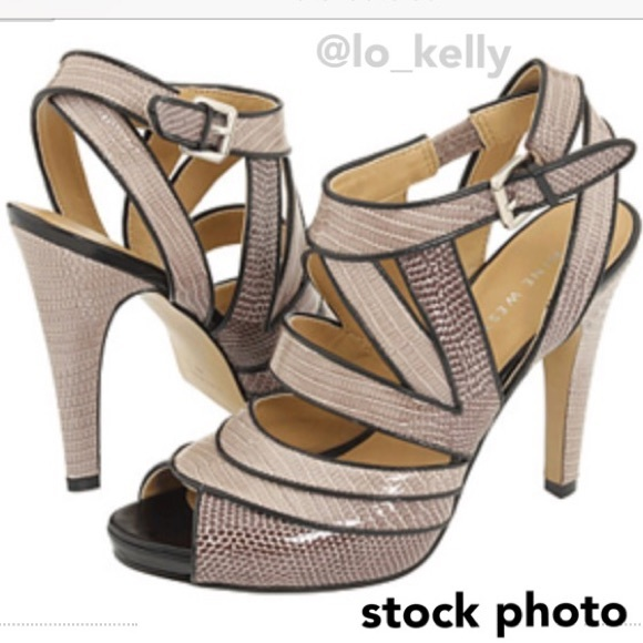 b8bc1a55912 Nine West Elkie Taupe Strappy High Heels Open-toe.  M 5a7f701861ca103de75c2ae3